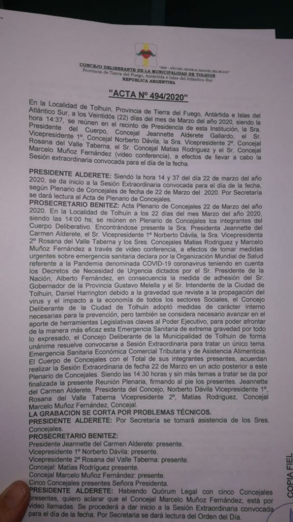 Precedente Concejal Muñoz participando por Videollamada
