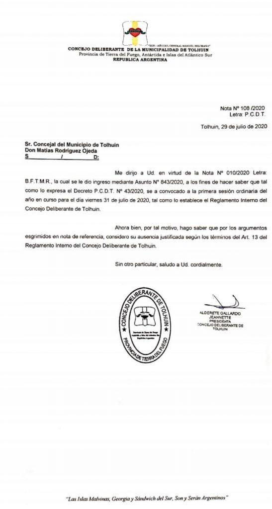 Respuesta a las solicitudes del edil Rodriguez por parte del Concejo Deliberante